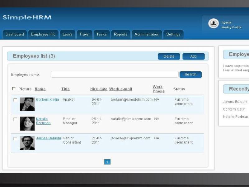 Giao diện phần mềm quản lý công việc simplehrm